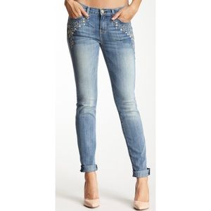 CURRENT ELLIOTT Rolled Skinny Embroidered Jeans